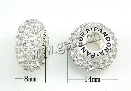 Gets.cn CRYSTALLIZED™ Crystal With Sterling Silver Single Core European Beads, troll, Rondelle, 14x8mm, Hole:Approx 4.5MM, Sold by PC
