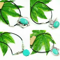 Turquoise Leather Necklace