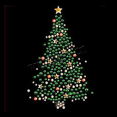 Rhinestone Hot Fix Motif, AA grades, christmas tree pattern, 265x175mm