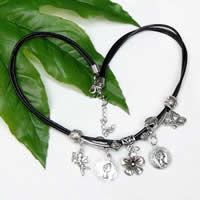 Zinc Alloy Leather Cord Necklace