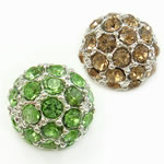 Round Rhinestone Beads, with Zinc Alloy, more colors for choice, cadmium free, 11mm, Hole:Approx 1mm, Sold By PC