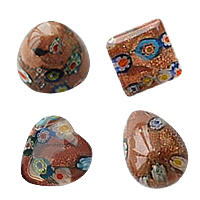 Goldsand Millefiori Glass Beads