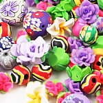 Polymer Clay Jewelry Beads, mixed style & color, 5-26mm, Hole:Approx 0.5-5MM, Sold by Bag