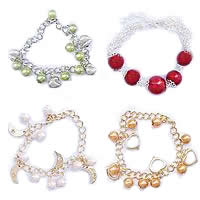 Plastic Beads Iron Chain Bracelets