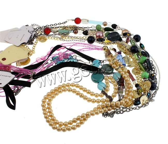 Fashion Match Jewelry Necklace, glass bead chain & iron chain & ribbon chain with mixed acrylic beads decoration, multi strand, nice to match fashion clothes, 3-46mm, Sold per 39-Inch Strand