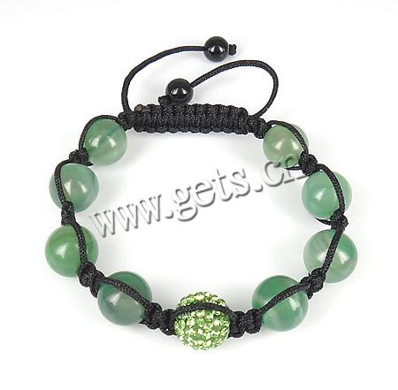 Fashion Shamballa Bracelet, black nylon cord with green agate beads & rhinestone plasticine bead, 12mm, Sold per approx 6.5-12-Inch Strand