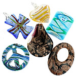 Handmade Lampwork Pendant, mixed color & shape, 31-59mm, Hole:Approx 3-24MM, Sold by Box
