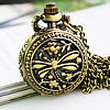 Watch Necklace, zinc alloy material, imitation antique & hollow dragonfly design, with pretty flower pattern on back, gorgeous watch for wear, 25mm, Sold per approx 31-Inch Strand