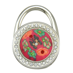 Polymer Clay Bag Hanger, with Zinc Alloy, Flat Round, plated, with flower pattern & with rhinestone, nickel, lead & cadmium free, 45x62x16mm, Length:124 Inch, Sold By PC