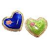 Beads Smooth Cloisonne, Zemër, asnjë, 18x15x5mm, : 1mm, 30PC/Qese,  Qese
