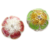 Beads Smooth Cloisonne, Lule, asnjë, 12x9.50mm, : 3mm, 30PC/Qese,  Qese