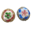 Beads Smooth Cloisonne, Round Flat, asnjë, 16x9.50mm, : 2mm, 20PC/Qese,  Qese
