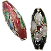 Beads filigran Cloisonne, Oval, 7x17mm, : 1mm, 60PC/Qese,  Qese