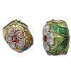 Beads filigran Cloisonne, Daulle, 10x12mm, : 1mm, 60PC/Qese,  Qese