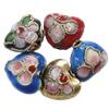 Beads filigran Cloisonne, Zemër, asnjë, 10x8x6mm, : 1mm, 100PC/Qese,  Qese