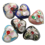 Beads filigran Cloisonne, Zemër, asnjë, 12x11x6mm, : 1mm, 100PC/Qese,  Qese