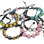Resin Shamballa Bracelet, fashion handmade shamballa bracelet, nylon cord with resin rhinestone beads & hematite beads, mixed colors for choice, nice for all, 13mm, Length:7-11.5 Inch, Sold by Bag
