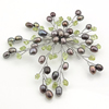 Freshwater Pearl Brooch, with gemstone chip, 78x50x10mm, Sold by PC