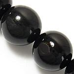 Natürliche schwarze Achat Perlen, Schwarzer Achat, rund, Grade A, 12mm, Bohrung:ca. 1-1.2mm, Länge:ca. 15 ZollInch, 5SträngeStrang/Menge, verkauft von Menge