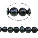 Round Beads kulturuar Pearl ujërave të ëmbla, Pearl kulturuar ujërave të ëmbla, natyror, e zezë, Një, 9-10mm, : 0.8mm, :14.5Inç, 37PC/Fije floku,  14.5Inç,