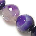 Beads Natyrore Purple agat, Round, asnjë, faceted & shirit, 14mm, : 1.5-2mm, : 14.5Inç, 5Fillesat/Shumë,  Shumë