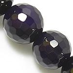 Natürliche violette Achat Perlen, Violetter Achat, rund, facettierte, 6mm, Bohrung:ca. 0.8-1mm, Länge:ca. 15 ZollInch, 5SträngeStrang/Menge, verkauft von Menge