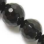 Natürliche schwarze Achat Perlen, Schwarzer Achat, rund, facettierte, schwarz, Grade A, 12mm, Bohrung:ca. 1.2mm, Länge:ca. 15 ZollInch, 5SträngeStrang/Menge, verkauft von Menge