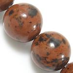 Mahagoni Obsidian Perlen, mahagonibrauner Obsidian, rund, natürlich, 12mm, Bohrung:ca. 1.2mm, Länge:ca. 15 ZollInch, 10SträngeStrang/Menge, ca. 32PCs/Strang, verkauft von Menge