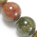 Beads Unakite, Round, natyror, 6mm, : 1mm, : 15.5Inç, 10Fillesat/Shumë,  Shumë