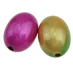 Beads ABS plastike, Oval, ngjyra të përziera, 13x19mm, : 2mm, 480PC/Qese,  Qese