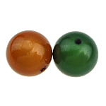Beads ABS plastike, Round, ngjyra të përziera, 10mm, : 1.5mm, 500PC/Qese,  Qese
