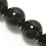 schwarzer Diamant Perle, rund, synthetisch, 10mm, Bohrung:ca. 1mm, Länge:ca. 15 ZollInch, 10SträngeStrang/Menge, ca. 37PCs/Strang, verkauft von Menge