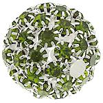Strass Messing Perlen, rund, silberfarben plattiert, ohne troll & mit Strass & hohl, grün, frei von Nickel, Blei & Kadmium, 26mm, Bohrung:ca. 4.8mm, verkauft von PC