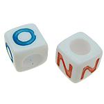 Beads ABS plastike, Kub, ngjyra të përziera, 7x7mm, : 4mm, 1700PC/Qese,  Qese
