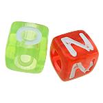 Beads ABS plastike, Kub, ngjyra të përziera, 7x7mm, : 4mm, 1851PC/Qese,  Qese