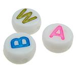 Beads ABS plastike, Monedhë, ngjyra të përziera, 7x3.50mm, : 1mm, 3600PC/Qese,  Qese
