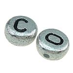 Beads ABS plastike, Monedhë, argjend, 7x3.50mm, : 1mm, 3600PC/Qese,  Qese