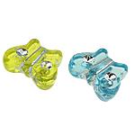 Beads ABS plastike, Flutur, ngjyra të përziera, 11x9x4mm, : 1mm, 2200PC/Qese,  Qese