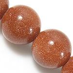 Beads Goldstone, Round, natyror, 12mm, : 1.5mm, : 15.5Inç, 10Fillesat/Shumë,  Shumë