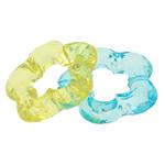 Beads transparente akrilik, Lule, i tejdukshëm, ngjyra të përziera, 30x29x7mm, : 2mm, 181PC/Qese,  Qese
