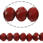 Rondelle Beads Crystal, Kristal, imitim kristal Swarovski, rubin, 3x4mm, : 1mm, :12Inç, 10Fillesat/Qese,  Qese