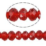 Rondell Kristallperlen, Kristall, AA grade crystal, Siam, 6x8mm, Bohrung:ca. 1.5mm, Länge:16 ZollInch, 10SträngeStrang/Tasche, verkauft von Tasche