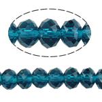 Rondell Kristallperlen, Kristall, AA grade crystal, pfauenblau, 6x8mm, Bohrung:ca. 1.5mm, Länge:ca. 16 ZollInch, 10SträngeStrang/Tasche, verkauft von Tasche