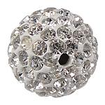Strass Ton befestigte Perlen, Lehm pflastern, rund, mit 130 Stück Strass, 14mm, Bohrung:ca. 2mm, 10PCs/Tasche, verkauft von Tasche