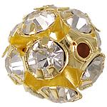 Strass Messing Perlen, rund, Gestell, mit Strass, Goldfarbe, frei von Nickel, Blei & Kadmium, 10x10mm, Bohrung:ca. 1.2mm, 100PCs/Tasche, verkauft von Tasche