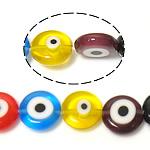 Böser Blick Lampwork Perlen, blöser Blick, gemischte Farben, 10x10x3.50mm, Bohrung:ca. 1mm, Länge:ca. 14.5 ZollInch, 10SträngeStrang/Menge, verkauft von Menge