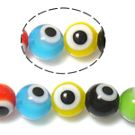 Böser Blick Lampwork Perlen, blöser Blick, gemischte Farben, 6mm, Bohrung:ca. 1mm, Länge:ca. 14.5 ZollInch, 10SträngeStrang/Menge, verkauft von Menge