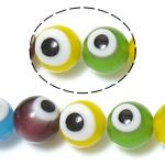 Beads dorë Lampwork, Round, ngjyra të përziera, 8mm, : 1mm, : 14.2Inç, 10Fillesat/Shumë,  Shumë