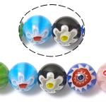 Millefiori Glass Beads, Round, ngjyra të përziera, 10mm, : 1mm, : 14.2Inç, 10Fillesat/Shumë,  Shumë