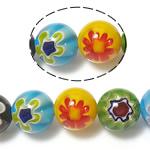 Millefiori Glass Beads, Round, ngjyra të përziera, 12mm, : 1mm, : 14Inç, 10Fillesat/Shumë,  Shumë